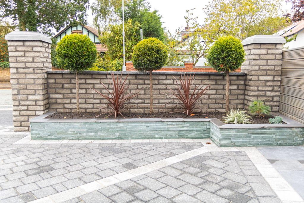 Pitch Faced Marshalite Walling Blockpaving Driveways contractors Liverpool.